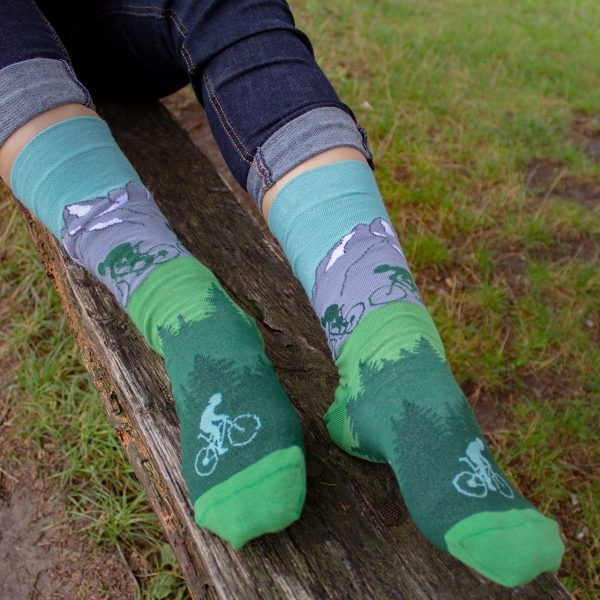 Veselé ponožky POHODKY Cyklista a Lomnický štít