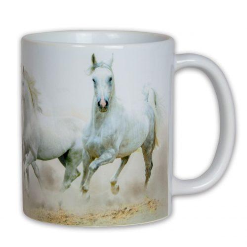 Hrncek s obrazkom biele kone