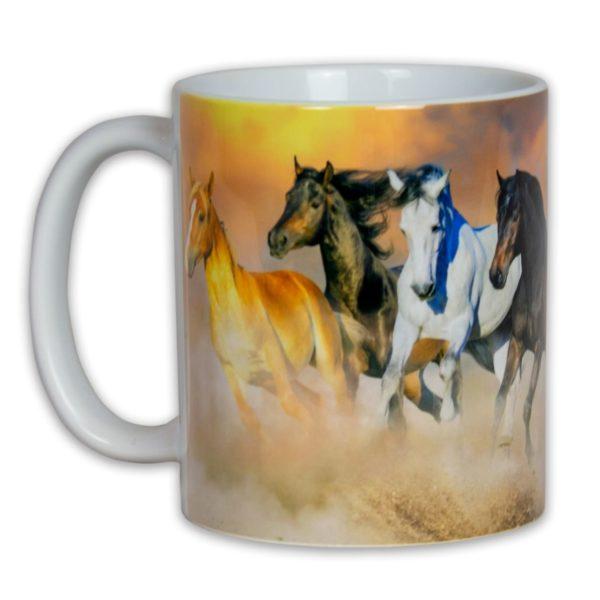 Hrncek s obrazkom cvalajuce kone