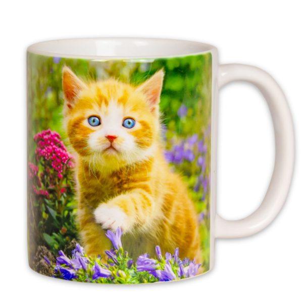 Hrnček s obrázkom - Mačiatko v kvetinkách