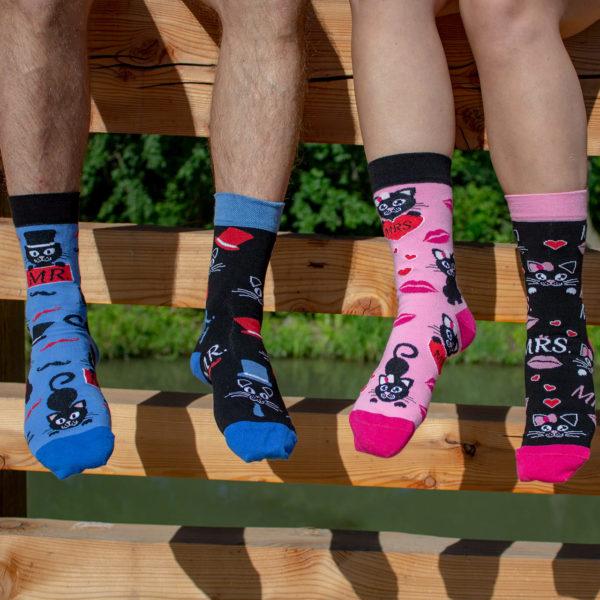 Veselé ponožky POHODKY MRS. mačka a MR. Kocur