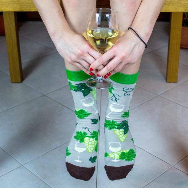 Veselé ponožky POHODKY Biele Víno